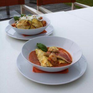 due piatti della cucina del Bagno Bragozzo